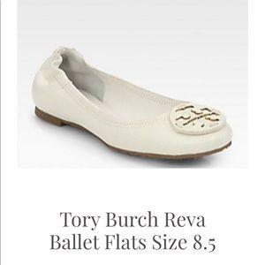 Tory Burch Reva White Pebbled Leather Ballet Flat